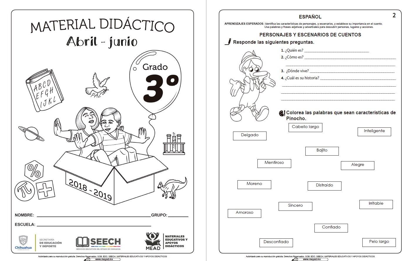 Material Didáctico Del Tercer Grado Del Tercer Trimestre Ciclo Escolar 2018 2019 Abril Junio Material Educativo