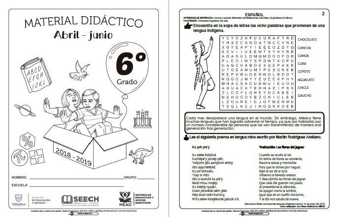 Material Didáctico Del Sexto Grado Del Tercer Trimestre Ciclo Escolar 2018 2019 Abril Junio Material Educativo