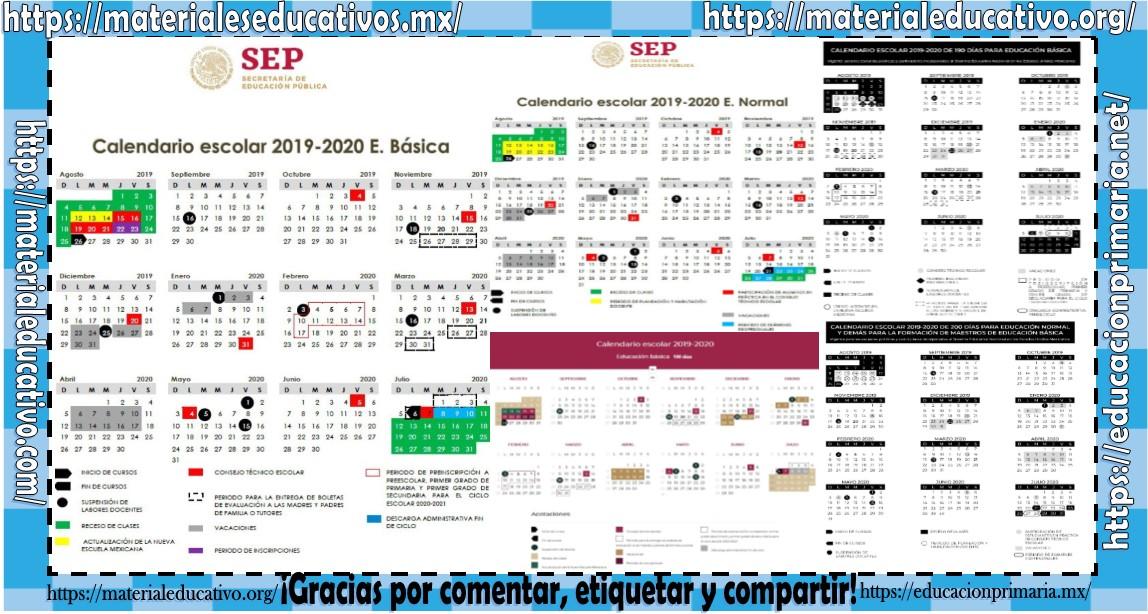 Calendario Escolar 2020 Sep Oficial.Calendario Escolar 2019 2020 De Educacion Basica Y Normal