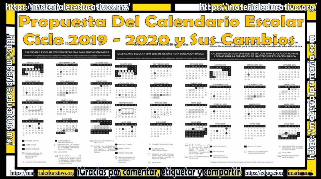 Calendario Escolar 2020 Sep Oficial.Propuesta Del Calendario Escolar Ciclo 2019 2020 Y Sus