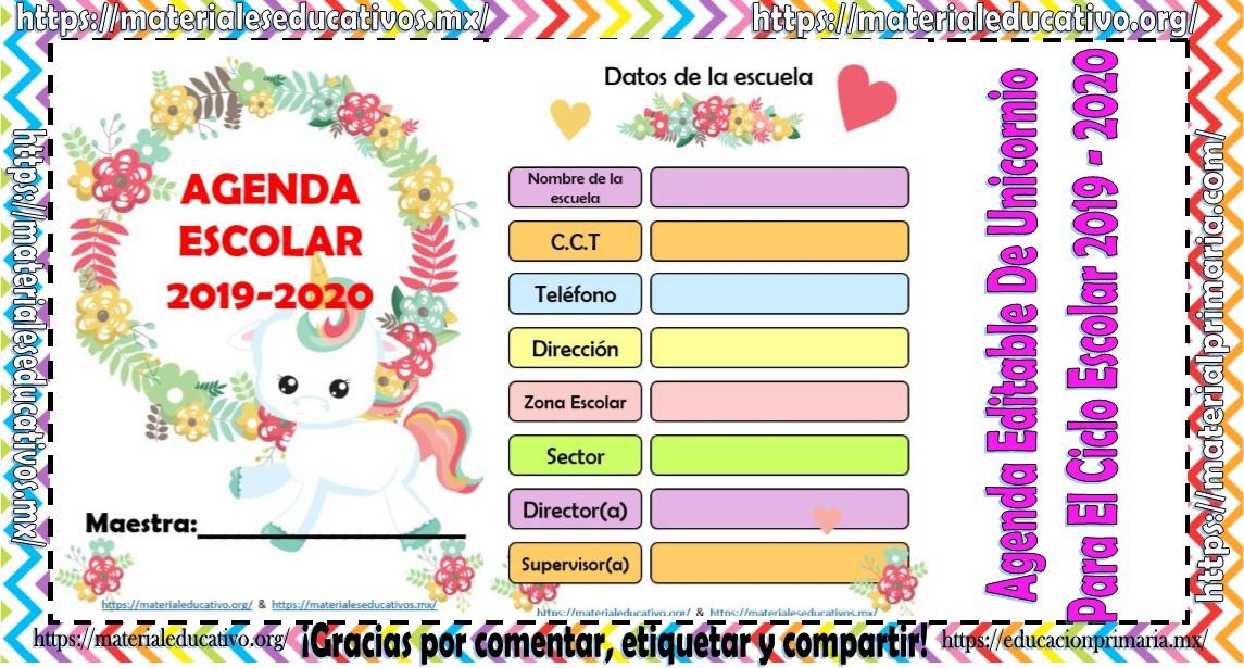 Calendario Agenda 2020 Para Imprimir.Hermosa Agenda Editable De Unicornio Para El Ciclo Escolar