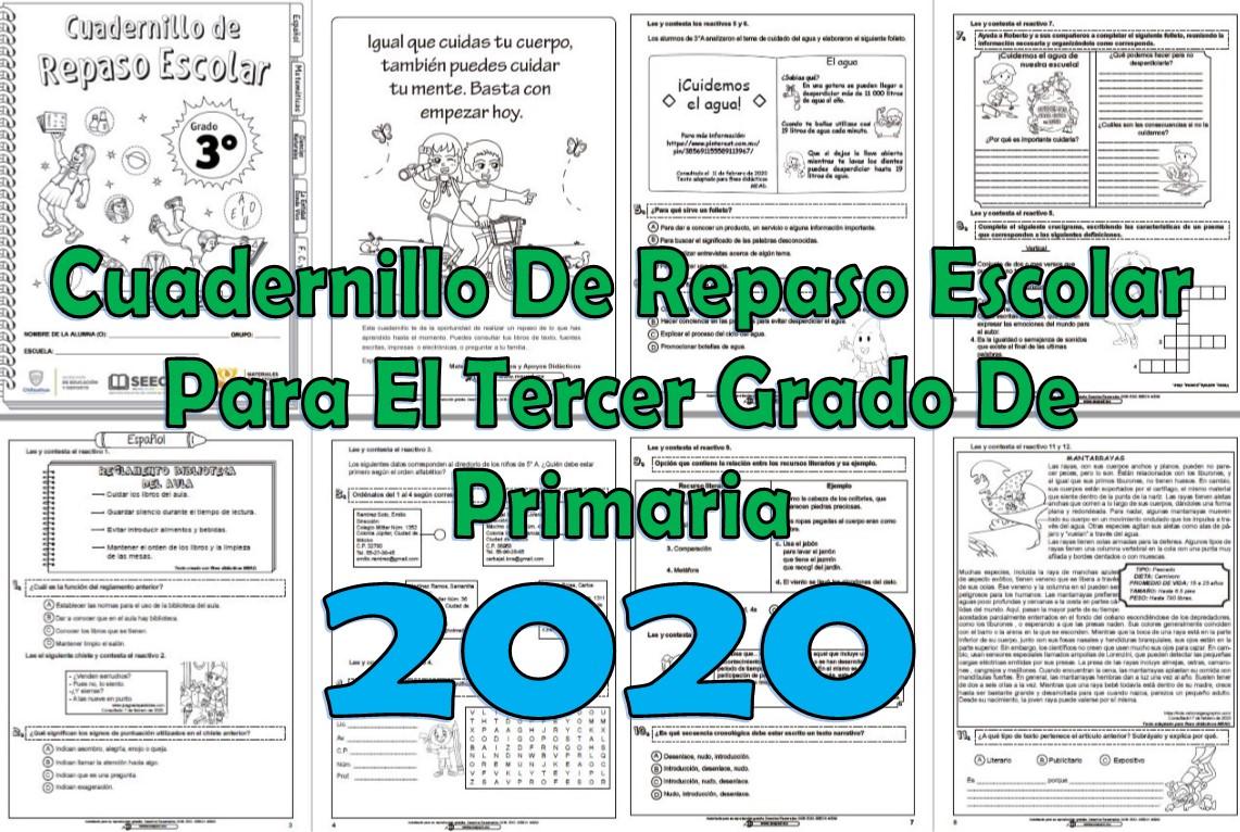 Cuadernillo De Repaso Escolar Del Tercer Grado De Primaria 2020 Material Educativo