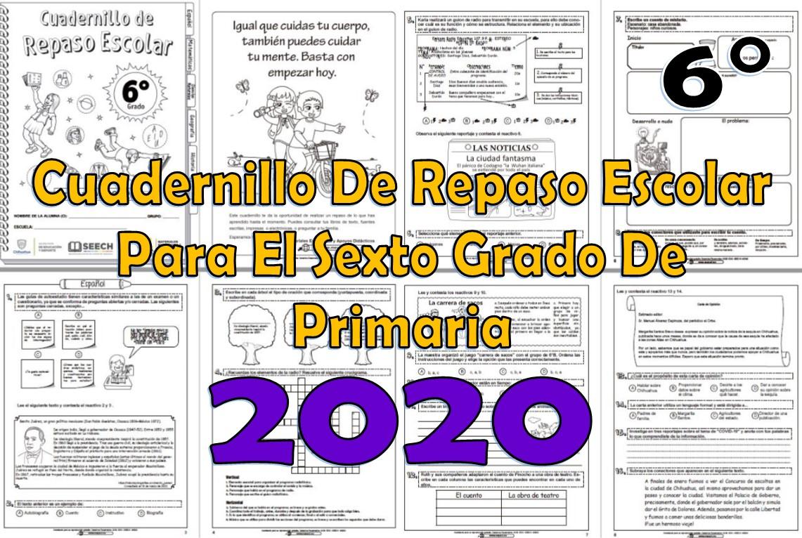 Cuadernillo De Repaso Escolar Del Sexto Grado De Primaria 2020 Material Educativo