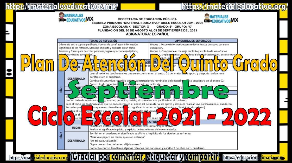 Plan de atención o planeación del quinto grado de primaria del ciclo escolar 2021 - 2022