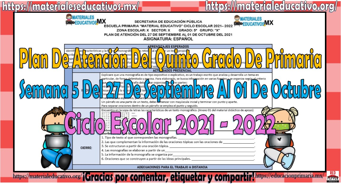 Plan de atención de reforzamiento del quinto grado de primaria semana 5 del 27 de septiembre al 01 de octubre del ciclo escolar 2021 - 2022